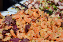 Fresh prawns delicious summer food salad detail photography Royalty Free Stock Photo