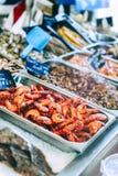 Fresh prawns at fish market Royalty Free Stock Photos