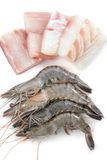 Fresh prawns and fish meat Royalty Free Stock Image
