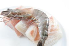 Fresh prawns and fish meat Royalty Free Stock Photography
