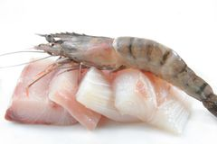 Fresh prawns and fish meat Stock Photo