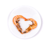 Fresh prawns in heart symbol Royalty Free Stock Image