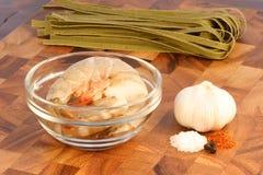 Fresh prawns and ingredients Stock Photo