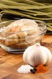 Fresh prawns and ingredients Stock Image