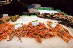 Fresh Prawns on a Seafood Market Stall Stock Photos