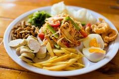 Papaya salad food selection Royalty Free Stock Photos
