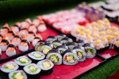 Thai streetfood sushi selection. Fresh prepared asian streetfood selection of sushi. Traditional thai cuisine made of fresh ingredients Royalty Free Stock Photos