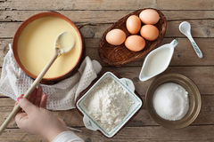 Fresh Prepared Custard Cream Royalty Free Stock Photography