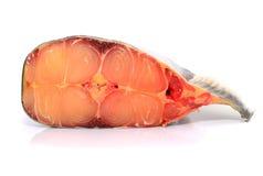 Fresh prepared pangasius fish fillet on white background Stock Photo
