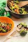Fresh prepeared broccoli with mushrooms Stock Photos