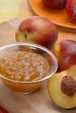 Fresh preserve. Peach preserve,peach conserve and peach,fruit preserve.Peach jam Royalty Free Stock Photography