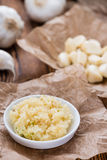 Fresh pressed Garlic Stock Image