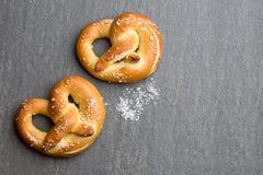 Fresh Pretzel food background Stock Photos
