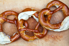 Fresh pretzel from German Oktoberfest Royalty Free Stock Images