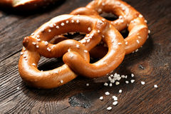 Fresh pretzels with sea salt close-up Royalty Free Stock Image