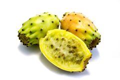 Fresh prickly pears isolated on white background. Fresh prickly pears isolated white background stock image
