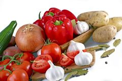 Fresh Produce. Fresh Vegetables. Tomatoes, Onions, Garlic, Red Paprikas. Organic Vegetables Isolated on White. Food Photo Collection Stock Photography