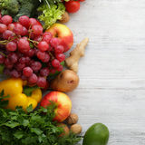 Fresh produce on boards, food background. Top view Stock Image