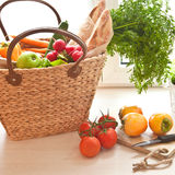 Fresh produce from the farmers market. Basket with fresh produce from the farmers market Stock Image
