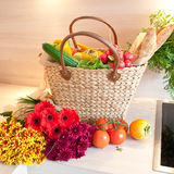 Fresh produce from the farmers market. Basket with fresh produce from the farmers market Royalty Free Stock Photo