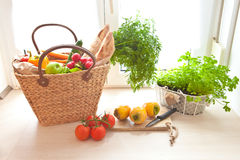 Fresh produce from the farmers market. Basket with fresh produce from the farmers market Royalty Free Stock Photos
