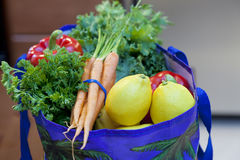 Fresh Produce in a Grocery Bag Stock Images