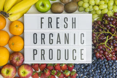 Fresh produce and its health benefits. Fresh, organic produce and different fresh fruits royalty free stock photography
