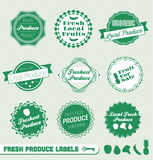 Fresh Produce Labels and Stickers. Collection of vintage style fresh produce and grocery labels and stickers Stock Image