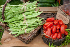 Fresh produce market. Produce market stall with fresh vegetables Royalty Free Stock Images
