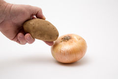 Fresh produce onion potatoe. Fresh produce onion potato raw ready to prep Stock Photo