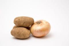 Fresh produce onion potatoe. Fresh produce onion potato raw ready to prep Stock Photography