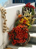 Fresh Produce Outside Taverna, Santorini. Fresh produce, decorative display on steps to taverna, restaurant, Thira, Fira, Santorini, Cyclades, Agean stock image