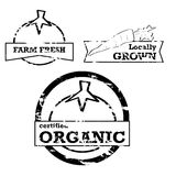 Fresh produce stamps. Labels and stamps showing fresh produce with positive messaging royalty free illustration