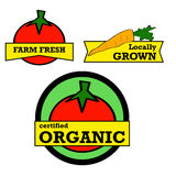 Fresh produce stickers. Labels and stickers showing fresh produce with positive messaging Royalty Free Stock Images