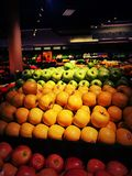 Fresh Produce Super Market. Yellow Red Green Apples Fresh Produce Clean Flashy Royalty Free Stock Photos