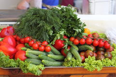 Fresh produce vegetables on the market Stock Images