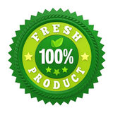 100% Fresh Product Badge Label Isolated. On white background. 3D render Stock Photos