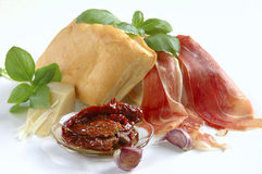 Fresh products for bruschetta Stock Images