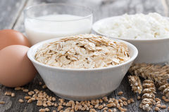 Fresh products - oatmeal, eggs, cottage cheese and milk Royalty Free Stock Images