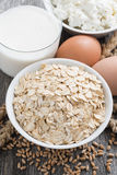 Fresh products - oatmeal, eggs, cottage cheese and milk, closeup Stock Images