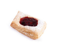 Fresh puff pastry with powdered sugar with jam isolated on white Stock Image
