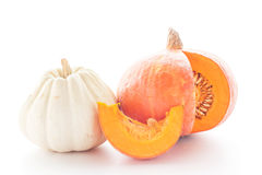 Fresh pumpkin cut on white background. Royalty Free Stock Images