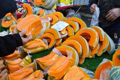 Fresh pumpkin sold in the neighborhood market stock photography