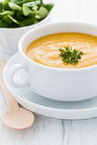 Pumpkin soup. Fresh pumpkin soup in a bowl Stock Images
