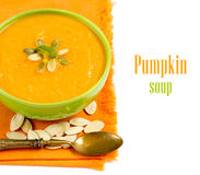 Fresh pumpkin soup Stock Photos