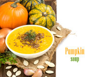 Fresh pumpkin soup Royalty Free Stock Photos