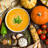 Fresh pumpkin soup and vegetables Royalty Free Stock Images