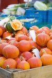 Fresh pumpkins on a farmer`s market stock photography