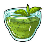 Fresh puree of greens with a mint leaf .Vegetarian Breakfast of greens.Vegetarian Dishes single icon in cartoon style Stock Photos