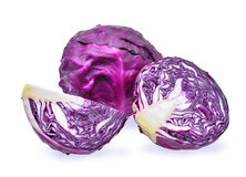 Fresh purple cabbage with slice isolated on white background Royalty Free Stock Photography